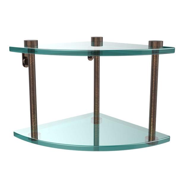 Two Tier Corner Glass Shelf, Venetian Bronze, image 1