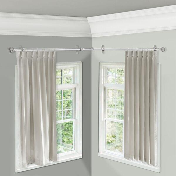 Leanette Satin Nickel 84-Inch Corner Window Single Curtain Rod, image 2