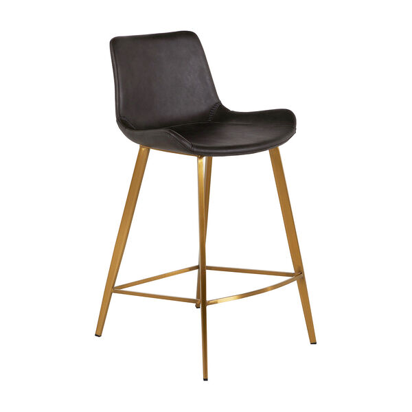 Hines Charcoal Brown and Stainless Gold 26-Inch Counter Height Stool, image 1