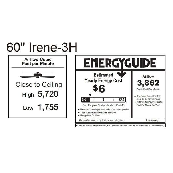 Irene-H Three Blade Textured Bronze 60-Inch Hugger-Style Ceiling Fan, image 2