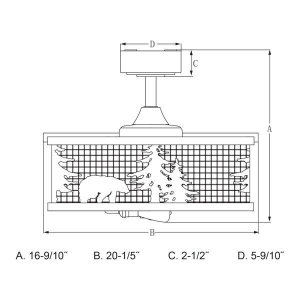 Kodiak Oil Rubbed Bronze and Burnished Teak 21-Inch Three-Light Ceiling Fan, image 6