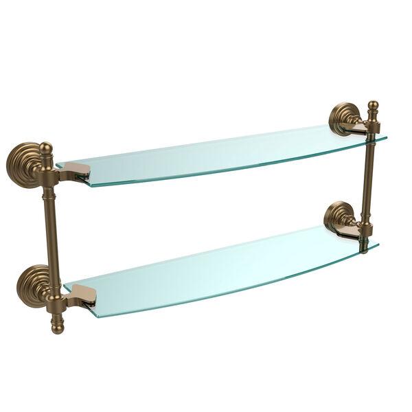 Retro Wave Brushed Bronze 18 Inch Double Glass Shelf, image 1
