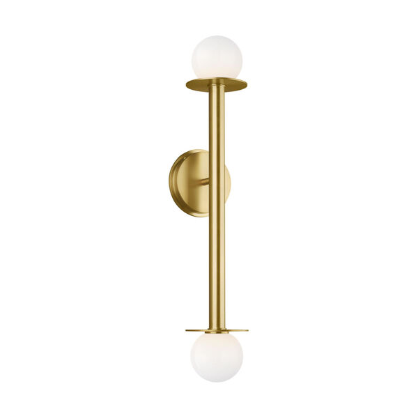 Nodes Burnished Brass Two-Light Bath Wall Sconce, image 1