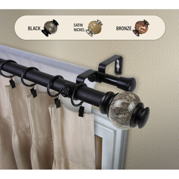 Black 240-Inch Marble Double Curtain Rod, image 2