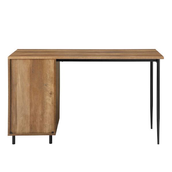 Ingrid Reclaimed Barnwood and Black Three Drawer Desk, image 4