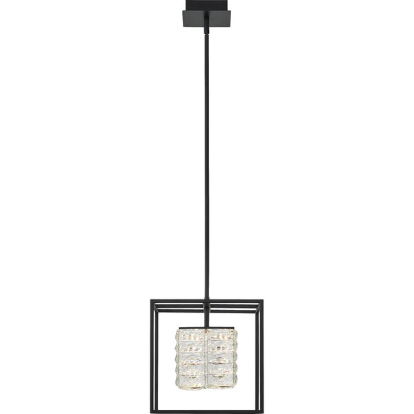 Dazzle Matte Black Integrated LED One-Light Pendant with Crystal, image 2