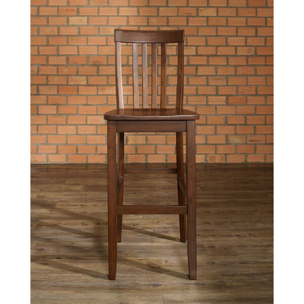 School House Bar Stool in Mahogany Finish with 30 Inch Seat Height- Set of Two, image 5