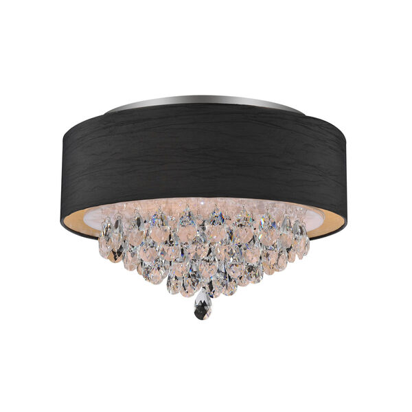 Dash Chrome and Black Four-Light 12-Inch Flush Mount with K9 Clear Crystal, image 1