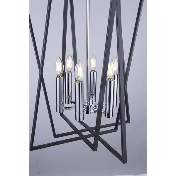 Middleton Matte Black and Polished Chrome Six-Light Geometric Chandelier, image 5