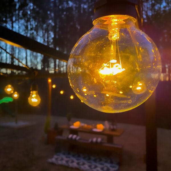 Black 15-Light 48-Foot Outdoor String Light Kit with Globe Bulbs, image 2