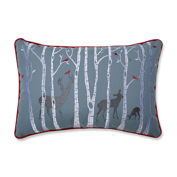 Blue and White Christmas Woodland Deer Lumbar Pillow, image 1