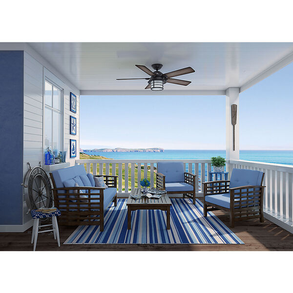 Key Biscayne Weathered Zinc 54-Inch Two-Light Fluorescent Adjustable Ceiling Fan, image 4