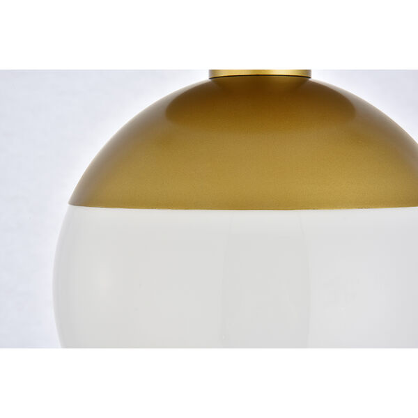Eclipse Brass and Frosted White Eight-Inch One-Light Semi-Flush Mount, image 4