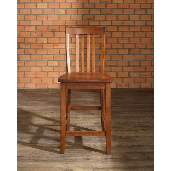 School House Bar Stool in Classic Cherry Finish with 24 Inch Seat Height- Set of Two, image 4