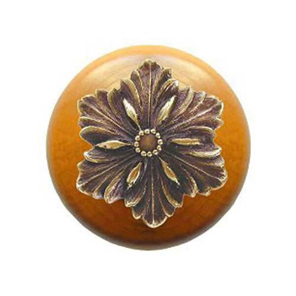 Maple Opulent Flower Knob with Antique Brass, image 1