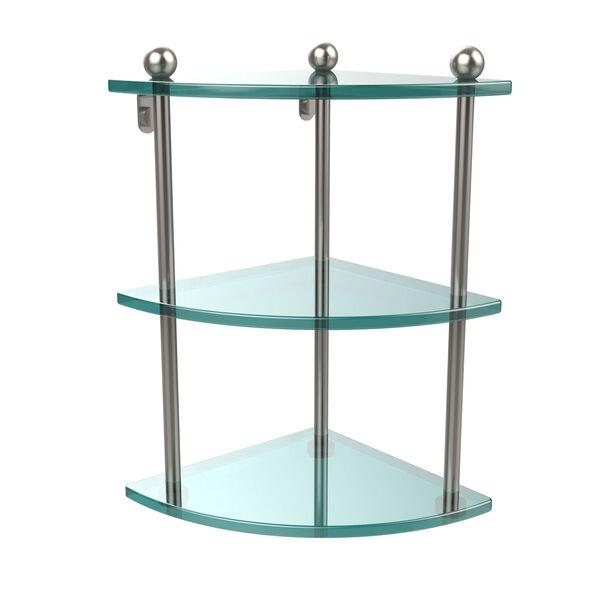 Satin Nickel Triple Glass Corner Shelf, image 1