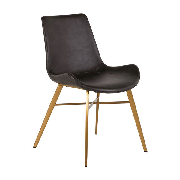 Hines Charcoal Brown and Gold Dining Chair, image 1
