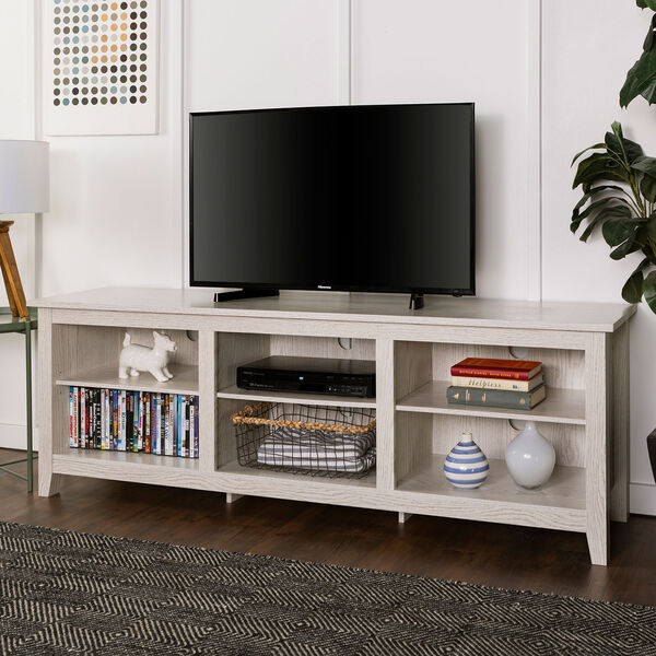 70-Inch Wood Media TV Stand Storage Console - White Wash, image 1