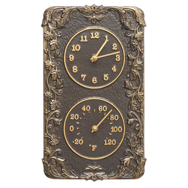 French Bronze Acanthus Combo Clock And Thermomter, image 1