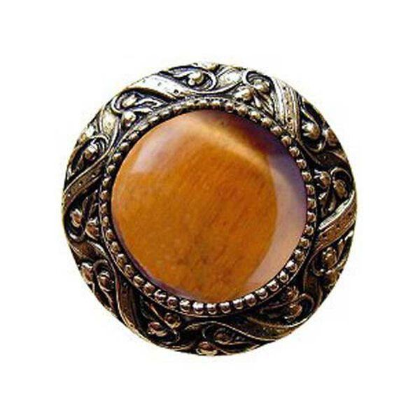 Brite Brass Victorian Jeweled Knob with Tiger Eye Stone , image 1