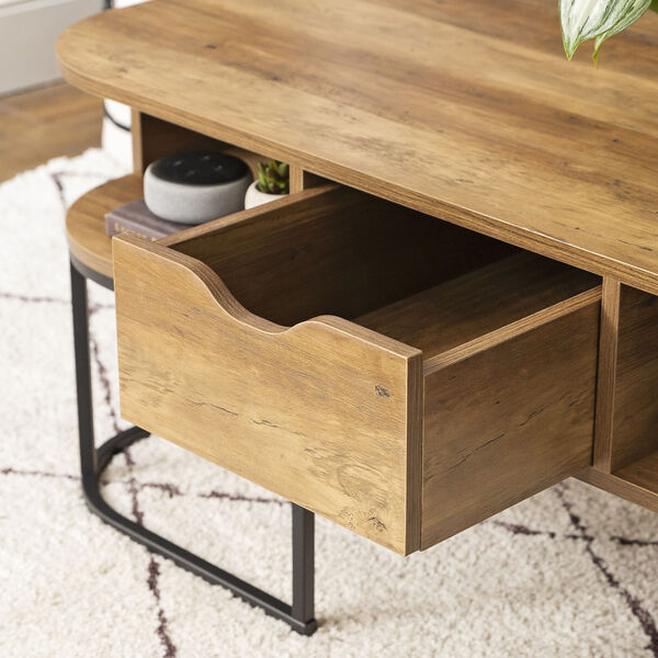 Jean Barnwood and Black Coffee Table with One Drawer, image 6