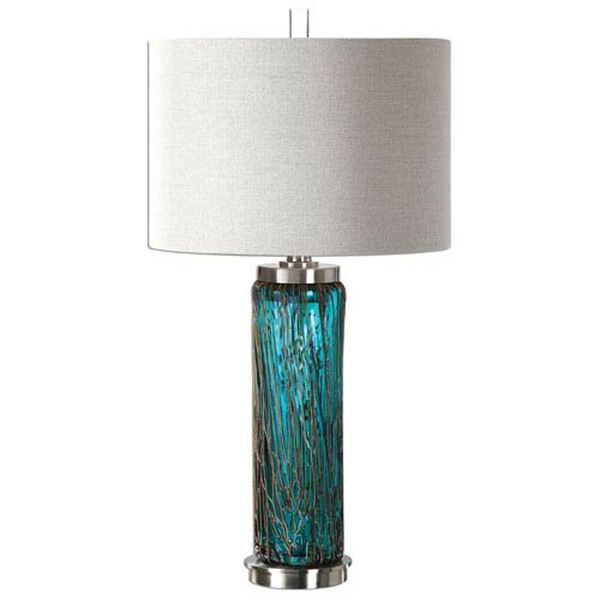 Del Mar Blue Glass Table Lamp, image 1