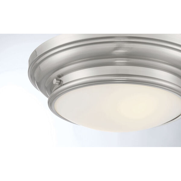 Whittier Brushed Nickel Two-Light Flush Mount with Round Glass, image 5