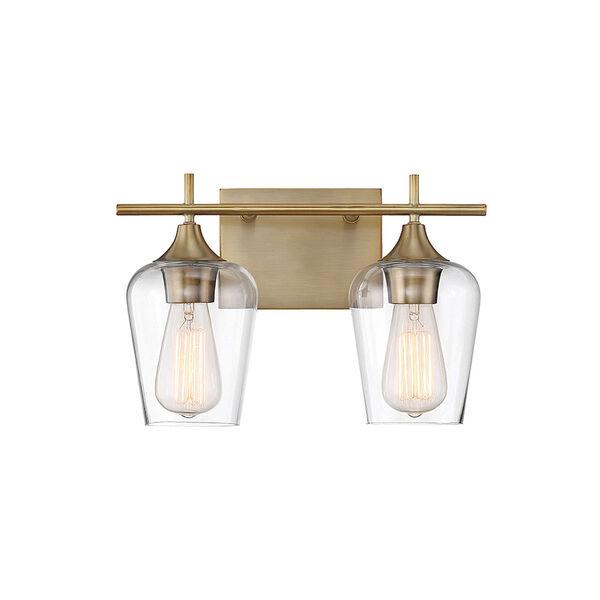 Octav Warm Brass 14-Inch Two-Light Bath Vanity, image 1