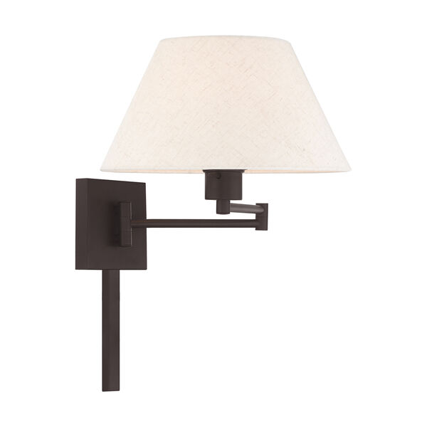 Swing Arm Wall Lamps Bronze 13-Inch One-Light Swing Arm Wall Lamp with Hand Crafted Oatmeal Hardback Shade, image 4