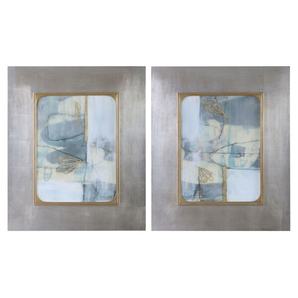 Gilded Whimsy Light Blue, Gray, Taupe and Gold Leaf Abstract Prints, Set of 2, image 1
