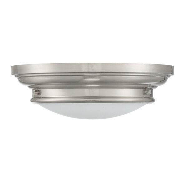 Whittier Brushed Nickel Two-Light Flush Mount with Round Glass, image 2