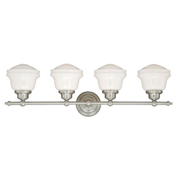 Huntley Satin Nickel Four-Light Vanity Fixture, image 2