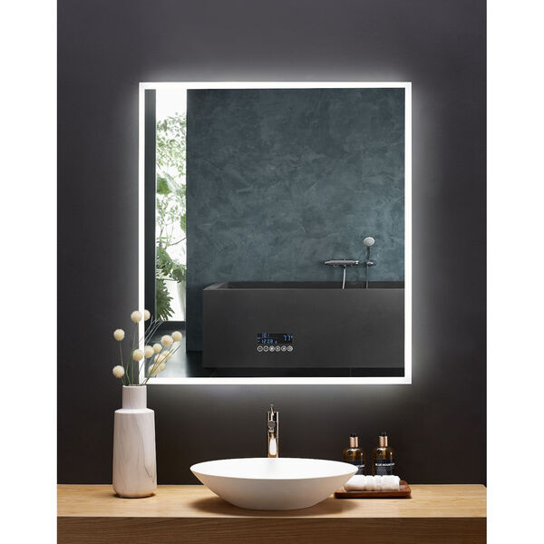 Immersion White 36 x 40 Inch LED Frameless Mirror with Bluetooth Defogger and Digital Display, image 1