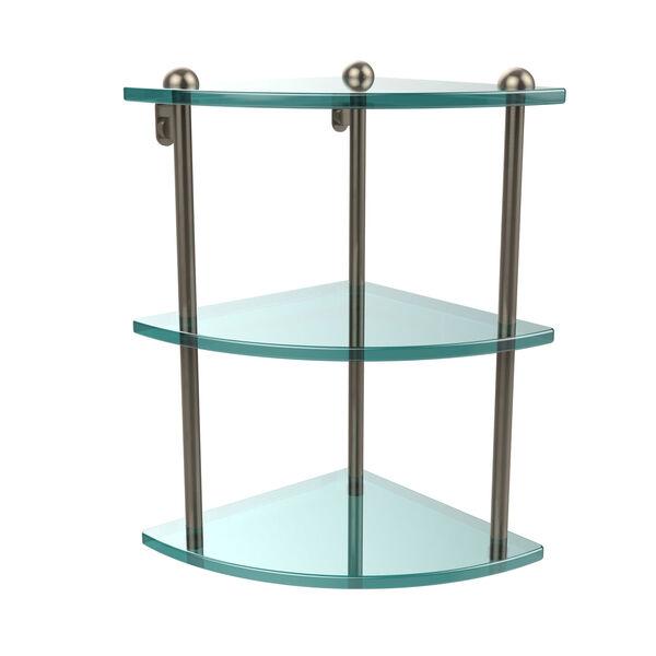 Three Tier Corner Glass Shelf, Antique Pewter, image 1