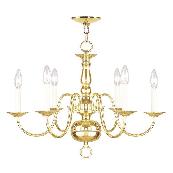 Williamsburgh Six-Light Polished Brass Chandelier, image 2