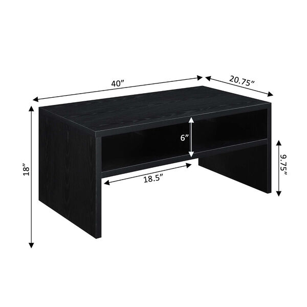 Northfield Admiral Black Deluxe Coffee Table with Shelves, image 6