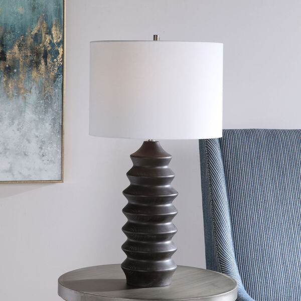 Mendocino Rustic Black One-Light Table Lamp with Round Drum Hardback Shade, image 3