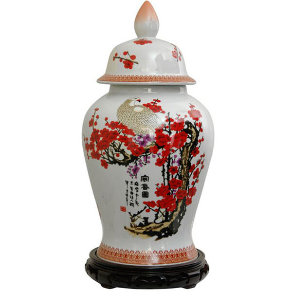 18 Inch Porcelain Temple Jar Cherry Blossom, Width - 10 Inches, image 1