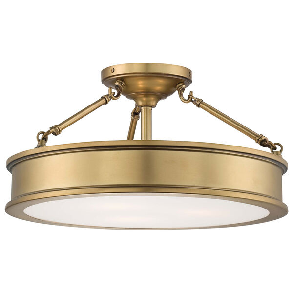 Harbour Point Three-Light Semi-Flush Mount in Liberty Gold, image 1