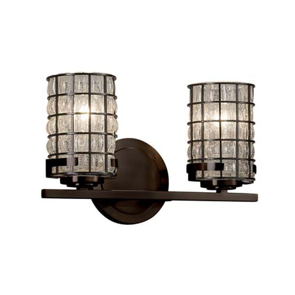 Wire Glass - Atlas Dark Bronze Two-Light LED Bath Bar with Cylinder Flat Rim Grid with Clear Bubbles Shade, image 1