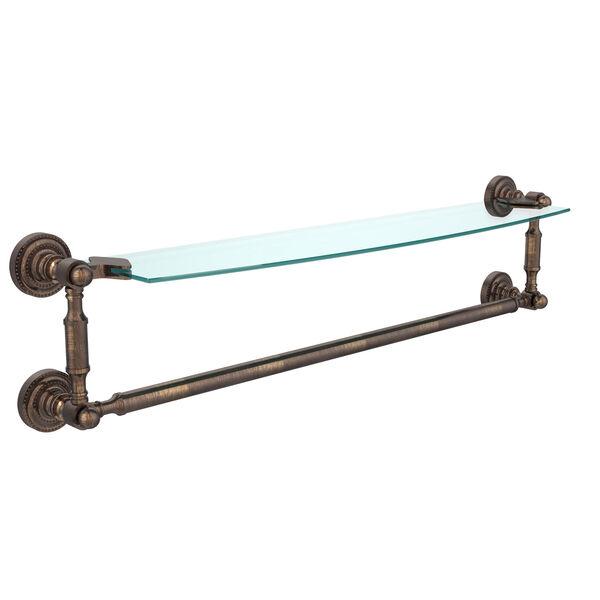 Dottingham Venetian Bronze 24 Inchx5 Inch Glass Shelf w/Towel Bar, image 1
