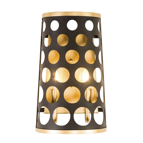 Bailey Matte Black French Gold Two-Light Wall Sconce, image 1