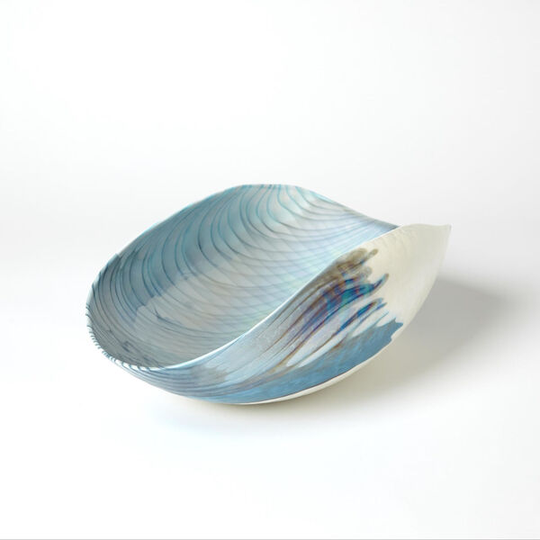 Ivory and Turquoise 10-Inch Feather Swirl Oval Bowl, image 2