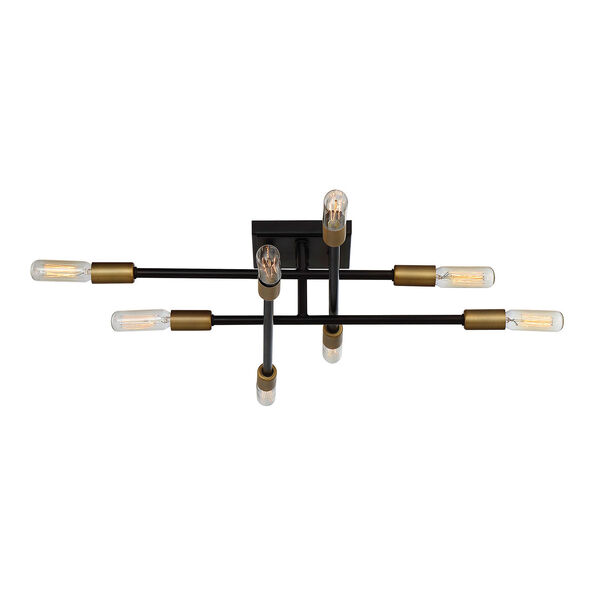 Uptown Bronze with Brass Accents Eight-Light Semi-Flush Mount, image 1