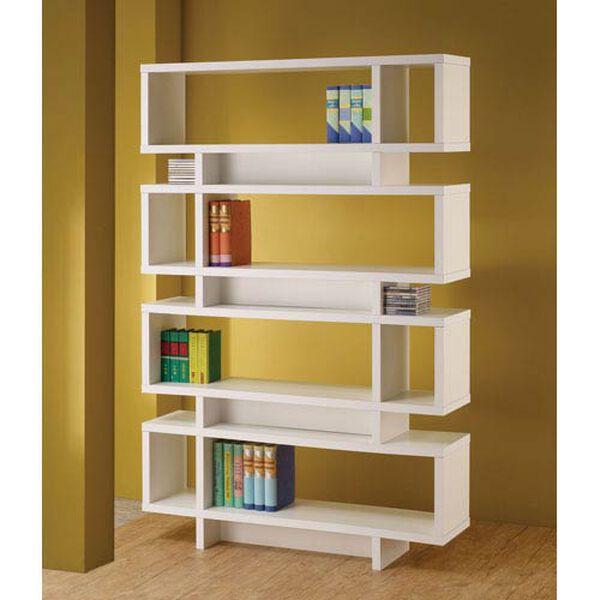 White Contemporary Open Bookcase, image 1