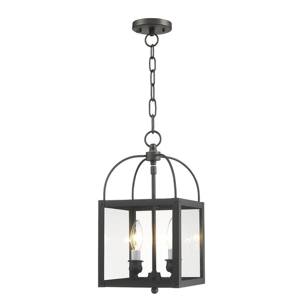 Milford Bronze Two-Light 15-Inch Convertible Pendant with Clear Glass, image 1