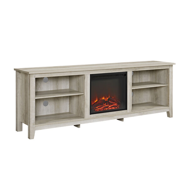 70-Inch Wood Media TV Stand Console with Fireplace - White Oak, image 3