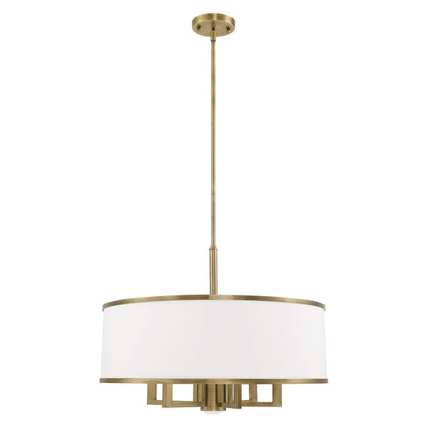 Park Ridge Antique Brass 24-Inch Seven-Light Pendant Chandelier with Hand Crafted Off-White Hardback Shade, image 2