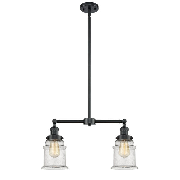 Franklin Restoration Oil Rubbed Bronze 10-Inch Two-Light LED Chandelier with Seedy Canton Shade, image 1