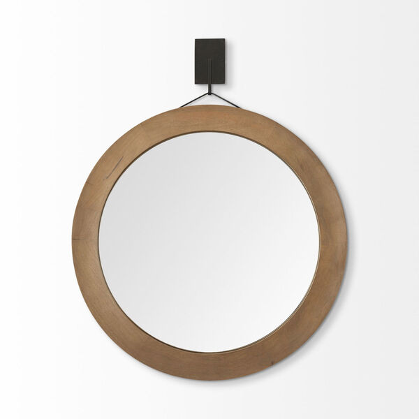 Avram Brown Round Wall Mirror, image 2